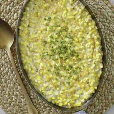 homemade creamed corn in a pan