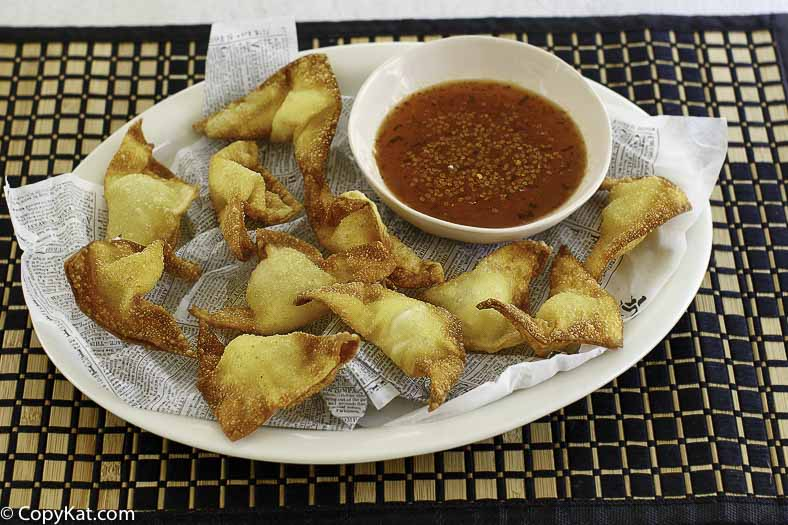cream cheese wontons served with sweet and sour sauce