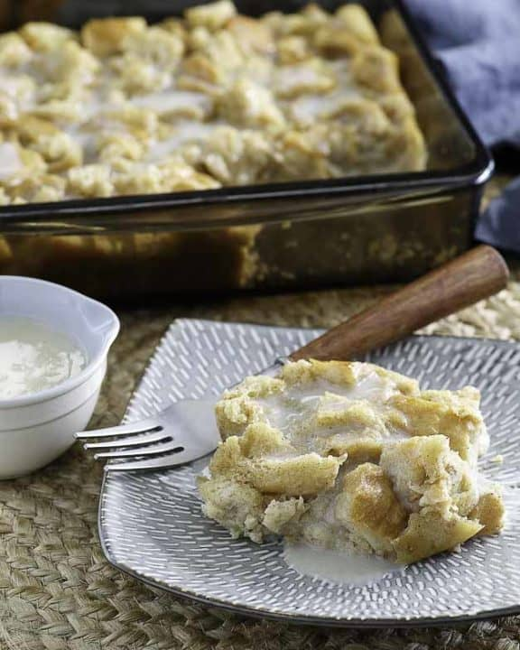 homemade bread pudding with a rich creamy sauce