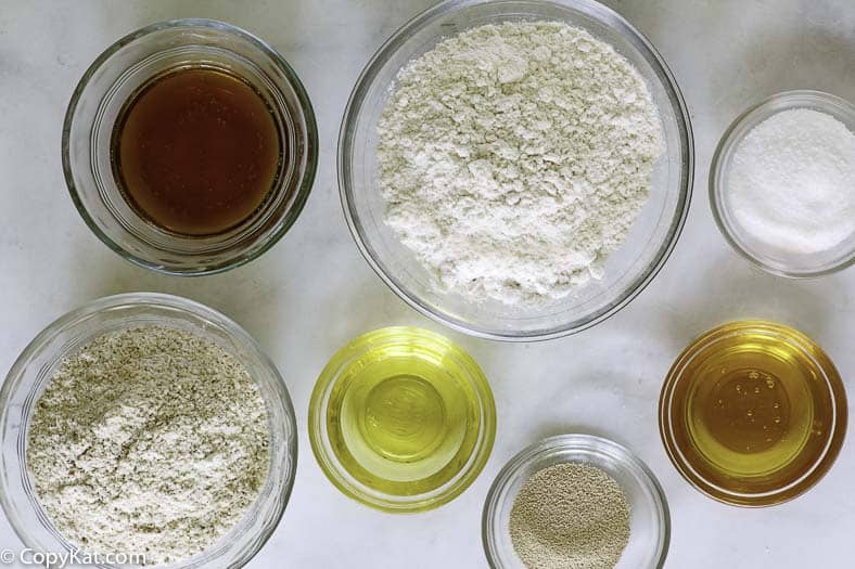all-purpose flour, whole wheat flour- oil, salt, sugar, and beer