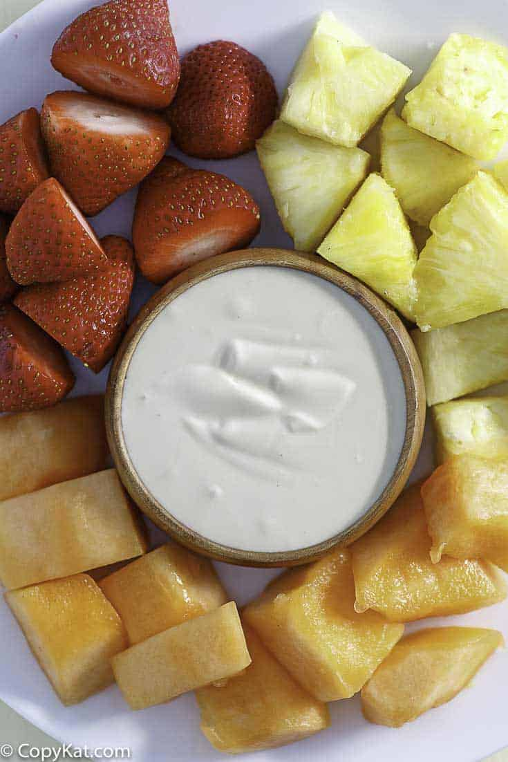 creamy fruit dip served with fresh fruit