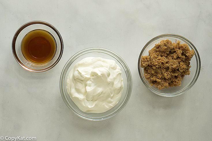 brown sugar, sour cream, and grand marnier to make fruit dip