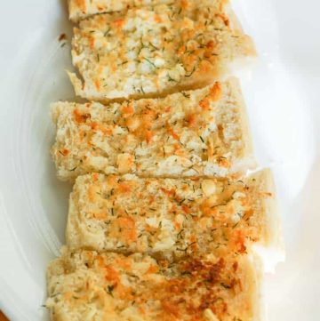 slices of garlic bread on a plate