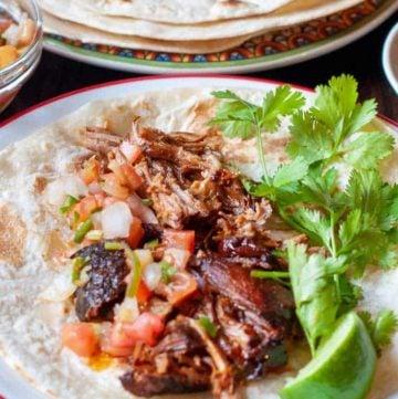pulled pork taco and tortilla shells