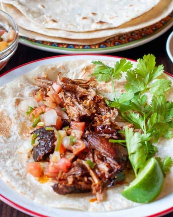 pulled pork taco and tortilla shells