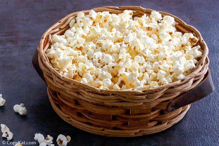 a basket filled with homemade kettle corn