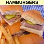 Homemade White Castle hamburgers with fries