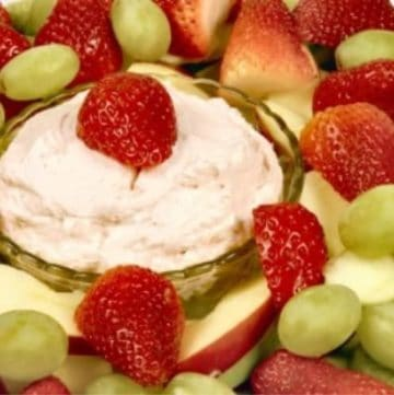 fruit dip served with assorted cut fruit