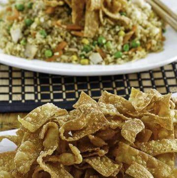 crispy fried wonton strips on a plate