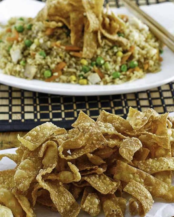 crispy fried wonton strips on a plate