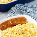 macaroni and cheese and meatloaf on a plate