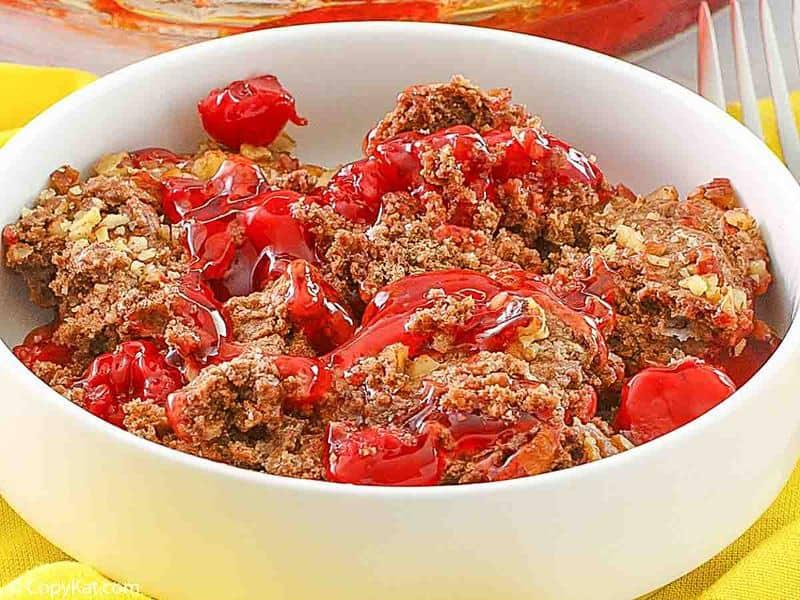 a bowl of homemade Cracker Barrel cherry chocolate cobbler