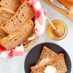 fluffy whole grain wheat bread loaf and slices