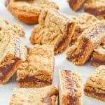 fudge jumbles cookie bars on top of parchment paper