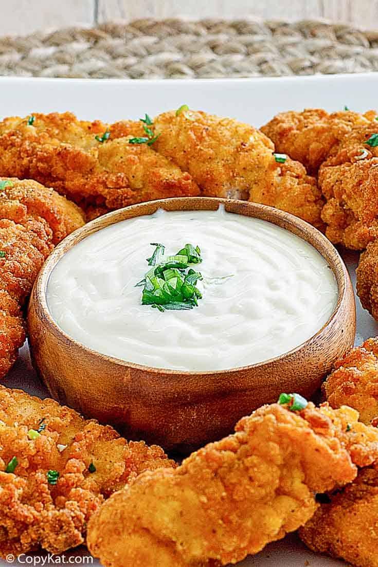 Jan salsa y pollo frito en una fuente