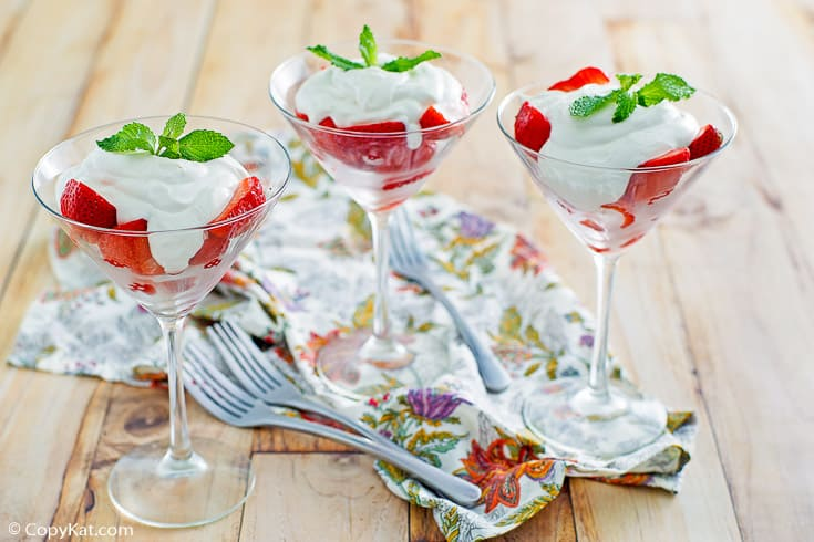 Strawberries Romanoff in martini glasses
