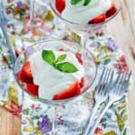 strawberries romanoff desserts in martini glasses