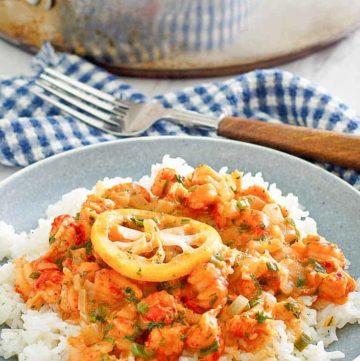 crawfish etouffee over white rice