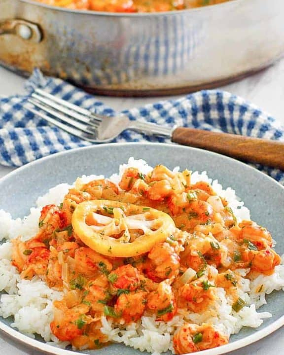 crawfish etouffee over white rice