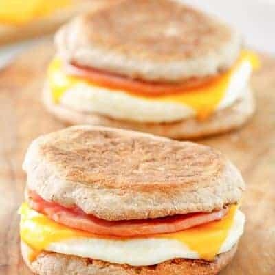 two homemade McDonalds egg white delight breakfast sandwiches