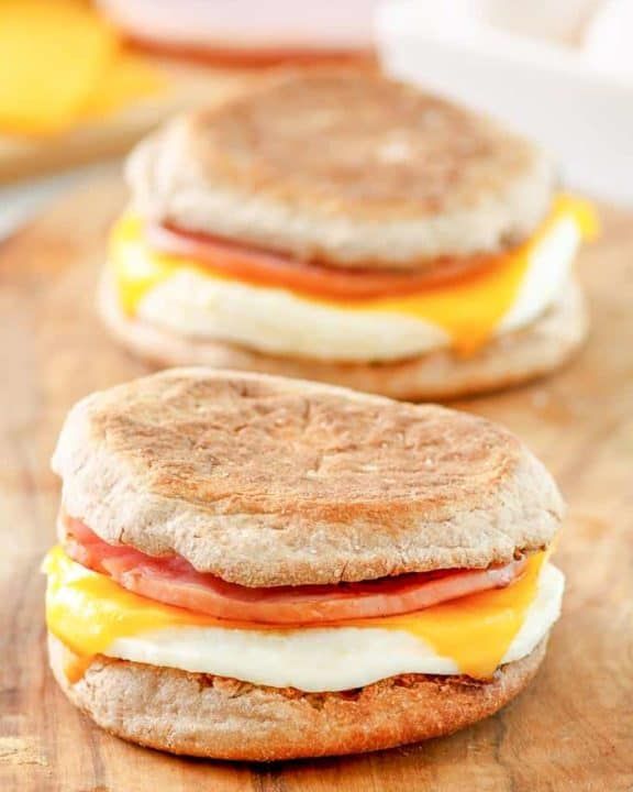 two homemade McDonalds egg white delight breakfast sandwiches