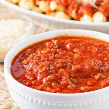 a bowl of three meat sauce