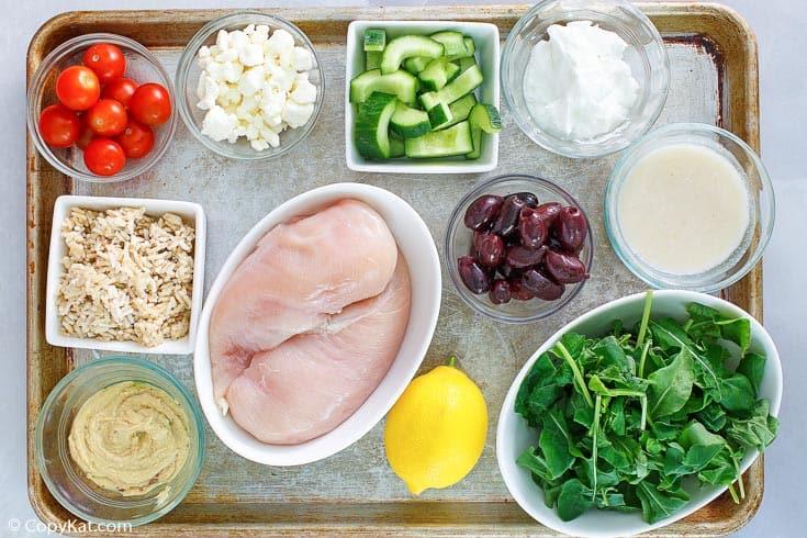 Panera Mediterranean grain bowl with chicken ingredients