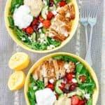 two homemade Panera Mediterranean grain bowls with chicken