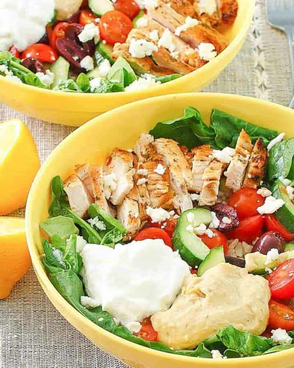 two Mediterranean grain bowls with chicken