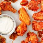Buffalo chicken wings and blue cheese dressing