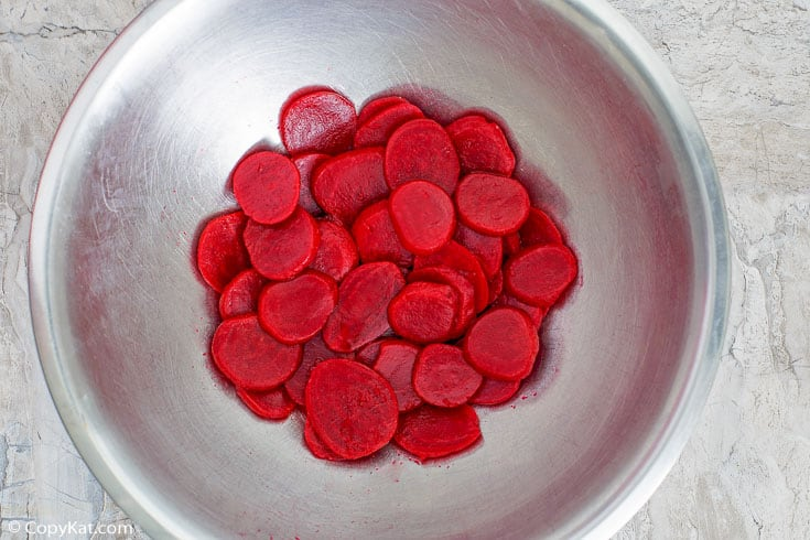 sliced roasted beets in a bowl
