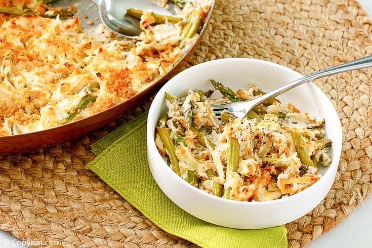 a bowl of Swiss asparagus casserole