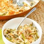 Swiss asparagus casserole in a bowl and a skillet