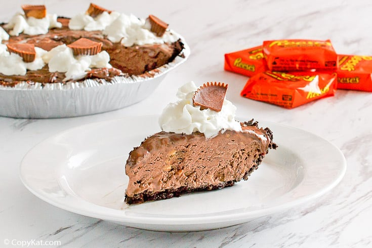 a slice of homemade Baskin Robbins Reeses Peanut Butter Pie