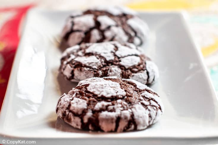 chocolate crinkle cookies on a plate