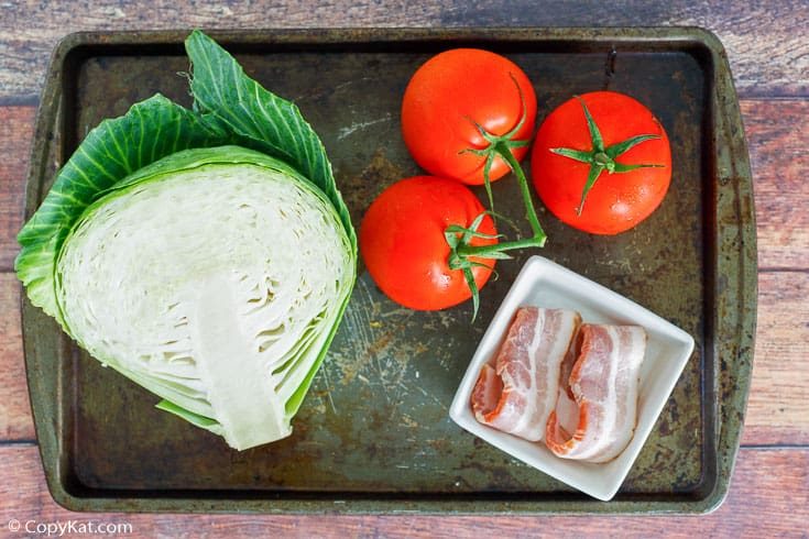 skillet cabbage with bacon ingredients