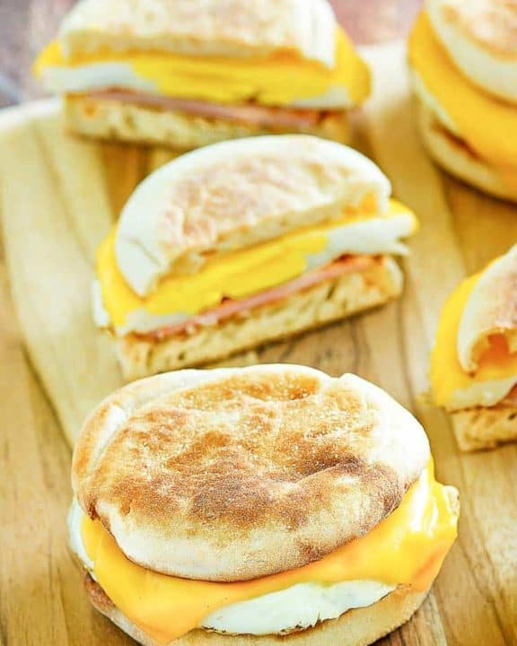 two homemade egg mcmuffins