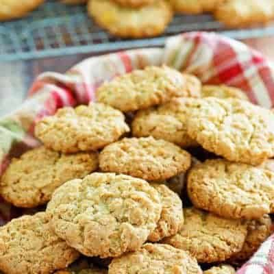 a basket filled with oatmeal coconut crunchies cookies