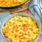 homemade mac and cheese in a blue bowl