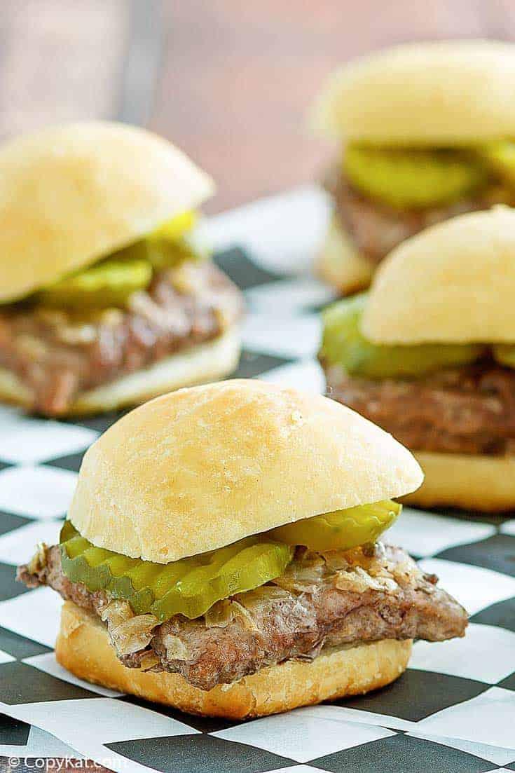 four homemade White Castle hamburgers