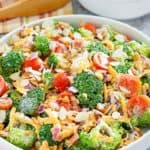 homemade broccoli salad in a bowl