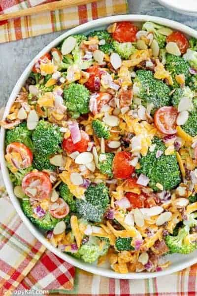 broccoli salad in a large white bowl