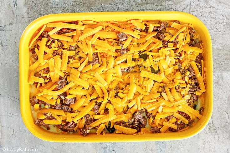 chili relleno casserole with beef before baking