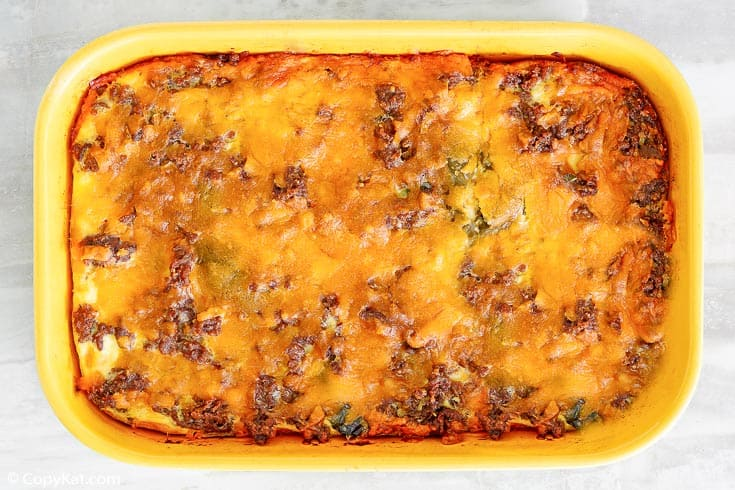 chili relleno casserole with beef in a baking dish