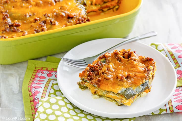 chili relleno casserole and a fork on a plate