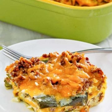 a serving of chili relleno casserole with beef
