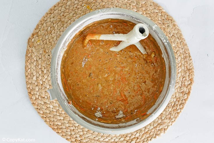 Cracker Barrel carrot cake batter in a mixing bowl