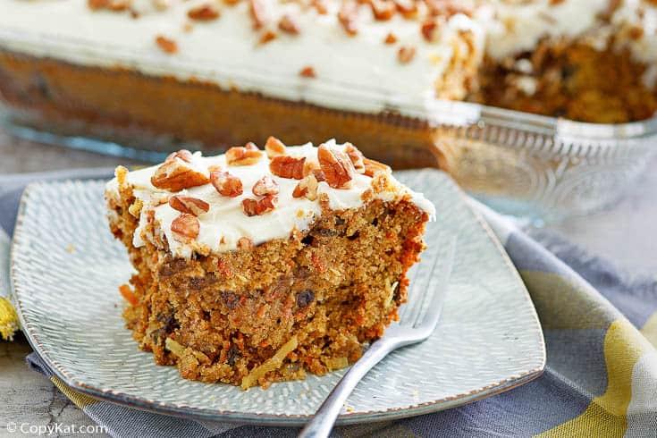 a slice of homemade Cracker Barrel carrot cake