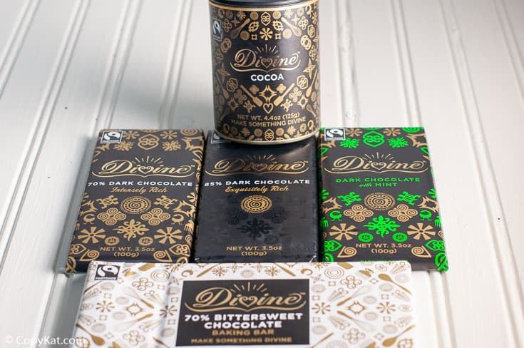 assortment of Divine chocolate products