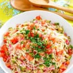 a big bowl of cold spaghetti pasta salad